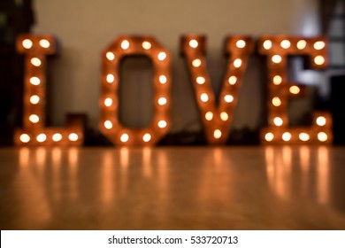 Valentines day background. Blurred letters Love for valentine's day and christmas with copy space