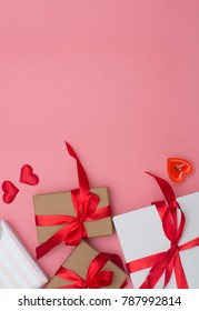 Valentines day background, Valentines day card and gift box on pink background