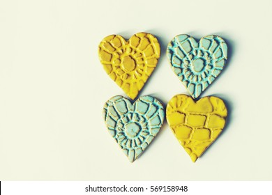 valentines day background, ceramic hearts