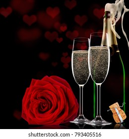 Valentines day background with champagne and roses, still-life.