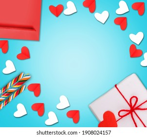 Valentine's Day background. Gifts, candle, confetti, envelope