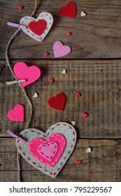 Valentines Day Background Handmade Felt Hearts Stock Photo Edit Now