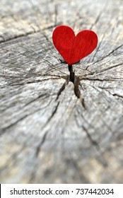 Valentines day background, heart on old wood.