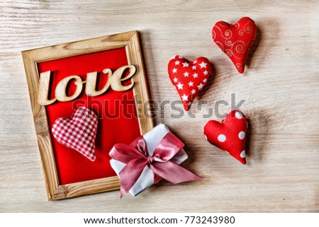 Valentines Day Background Hearts Homemade Gift Stock Photo Edit Now