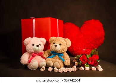 Valentines Day background with hearts, teddy bear, red roses, gift box