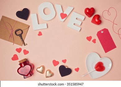 Valentine's day background with love letters and heart shapes. View from above