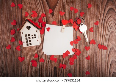 Valentine's day background with love letters, keys and heart shapes. New house. View from above