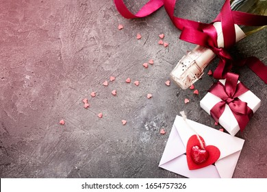valentines day background on dark stone