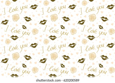Valentines day background. Raster seamless Valentine pattern with different hearts. Abstract background in yellow, brown and beige colors on a white.