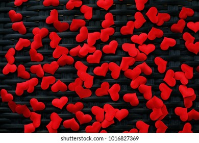 Valentines day background with red hearts. copy space