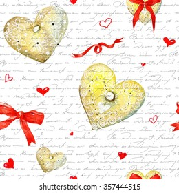Valentine's day background.  Seamless watercolor hearts pattern. Stylish pattern with watercolor hearts