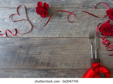 Valentines Day Background Table Place Setting Wooden With Copy Space