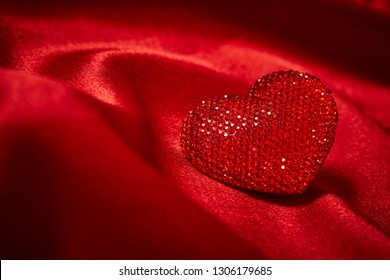 Valentines Day Background, Valentine Heart Red Silk Fabric, Wedding Love - Image