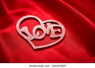 Valentines Day Background, Valentine Heart Red Silk Fabric, Wedding Love - Image
