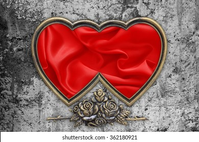 Valentines Day Background, Valentine Heart Red Silk Fabric on the cement wall.