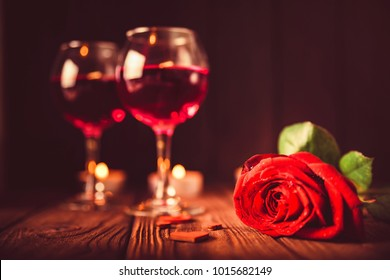 Valentine's day background with wine, candles