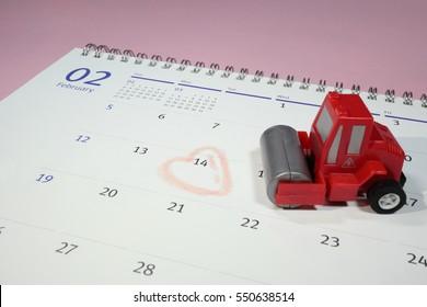 Valentine's Day and calendar and Asphalt roller, Single hates Valentine's Day