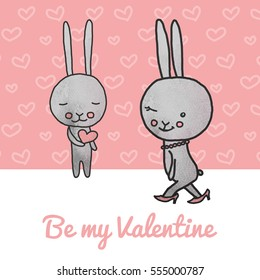 Valentine's day card design with romantic bunny with heart in hands. Be my  Valentine.