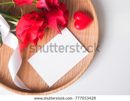 Valentines Day Card Mockup On Wooden Stock Photo Edit Now