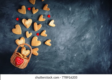 Valentines day card. Mother's day. Womans day. Cookies in Shape of Hearts for Valentine's Day.