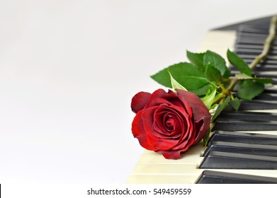 Valentines Day card: Red rose and piano keys