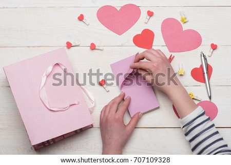 Valentines Day Cards Decorations Top View Stock Photo Edit Now