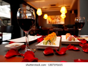 Valentines day celebration, japanese sushi dinner