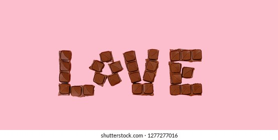"Valentine's day, chocolate day. chocolate bar in form of word ""love"". minimalist concept of love and sweets, chocolate. inscription love by chocolate. minimal creative card. copy space, top view"