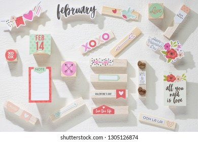 Valentine`s Day Composition. Flat lay with copy space. Concept: Hot Date 14 February!