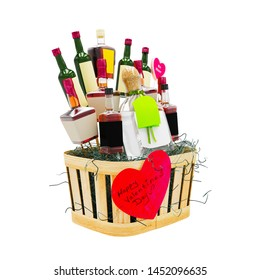 Valentines Day concept. Alcohol bottles and gift boxes in basket isolated on white background.  - Shutterstock ID 1452096635