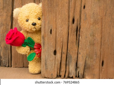 Valentine's day concept with Cute teddy Bear toy clutching a red rose in its arms on wooden background for an anniversary or valentine's celebration, copy space.