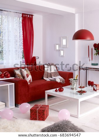 Valentines Day Concept Decoration Red Sofa Stock Photo Edit Now