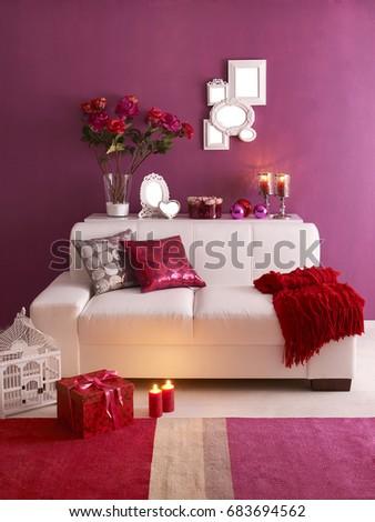Valentines Day Concept Decoration White Sofa Stock Photo Edit Now