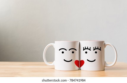 Valentine's day concept, White couple glasses lover on table