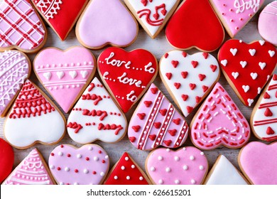 Valentine's day cookies background, top view