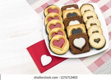 Valentine's Day. cookies with hearts on a white dish