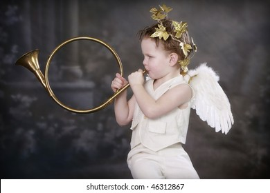 Valentine's Day Cupid playing Horn
