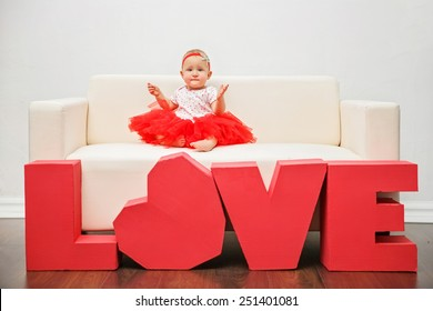 Valentine's Day -  cute child. Series of photos