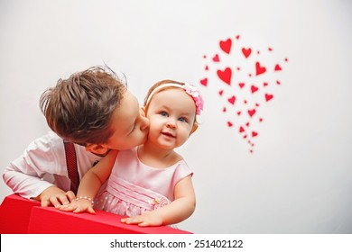 Valentine's Day -  cute children. Series of photos