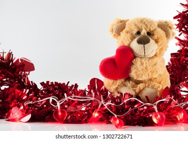 Valentine's day, Cute Teddy bear holding heart, Love Background