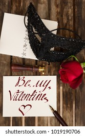 Valentines Day date invitation, with be my Valentine greetings