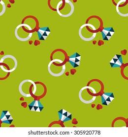 Valentine's Day diamond ring flat icon,seamless pattern background