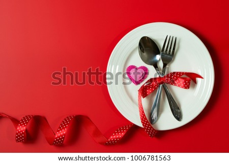 Valentines Day Dinner Setting Using White Stock Photo Edit Now