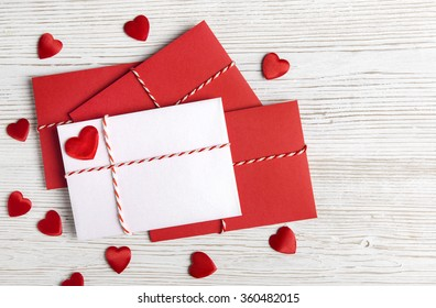 Valentines Day Envelope Mail,  Red Heart Tied Rope. Valentine Letter Card, Wedding Love Concept