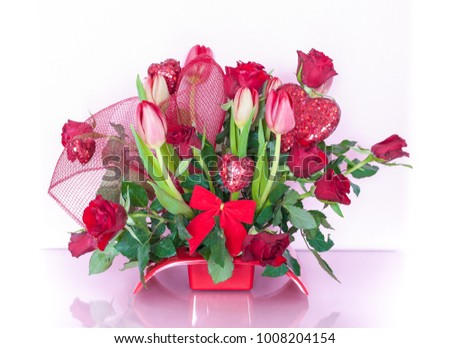 Valentines Day Flower Arrangement Red Roses Stock Photo Edit Now