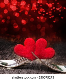 Valentine`s day, forks, heart