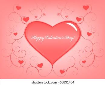 Valentine's day gift card. Raster illustration