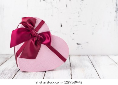 Valentine's Day greeting card, Valentine's Day background. Box of chocolate in a heart shaped box. Copy space