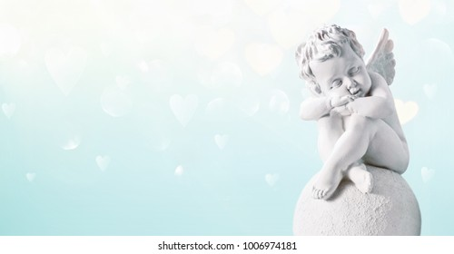 Valentines day greeting card with Cupid in clouds