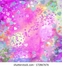 Valentines Day grunge hearts abstract background in pink, turquoise, yellow, and other pastel colors